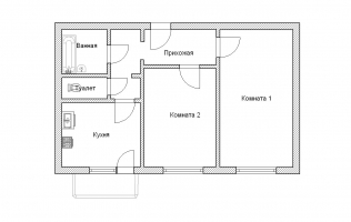 Серия КОПЭ. План. Двухкомнатная квартира (вар. 2)