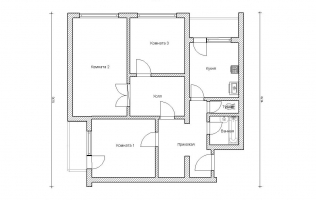 Серия КОПЭ. План. Трёхкомнатная квартира (вар. 1)