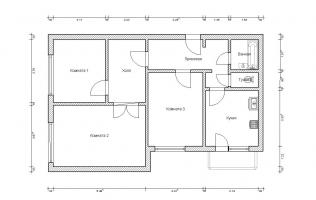 Серия КОПЭ. План. Трёхкомнатная квартира (вар. 2)