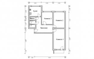 Серия КОПЭ. План. Трёхкомнатная квартира (вар. 3)