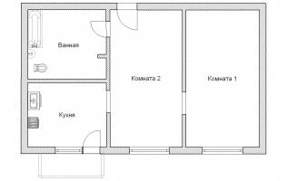 Серия КОПЭ. Перепланировка. Двухкомнатная квартира (вар. 2)