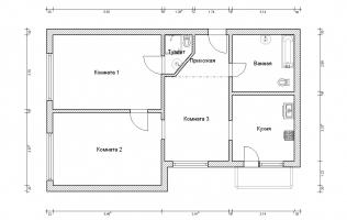 Серия КОПЭ. Перепланировка (2). Трёхкомнатная квартира (вар. 2)
