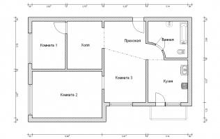 Серия КОПЭ. Перепланировка (3). Трёхкомнатная квартира (вар. 2)