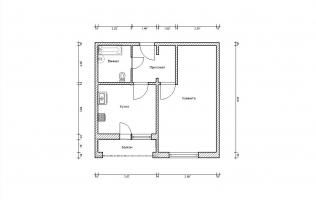 Серия И-1723. План. Однокомнатная квартира