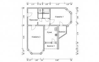 Серия И-1723. План. Двухкомнатная квартира (вар. 2)