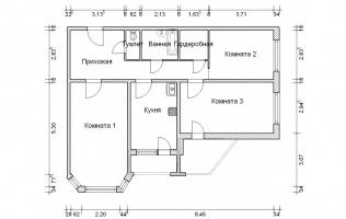 Серия И-1723. План. Трёхкомнатная квартира (вар. 1)