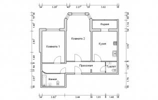 Серия И-1723. Перепланировка. Двухкомнатная квартира (вар. 1)