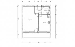 Серия II-68. План. Однокомнатная квартира (вар. 1)
