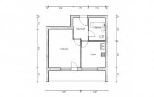 Серия II-68. План. Однокомнатная квартира (вар. 2)