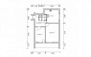 Серия II-68. План. Двухкомнатная квартира (вар. 1)