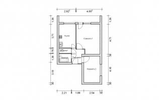 Серия II-68. План. Двухкомнатная квартира (вар. 2)