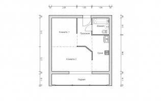 Серия II-68. Перепланировка (2). Однокомнатная квартира (вар. 1)