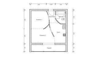 Серия II-68. Перепланировка (3). Однокомнатная квартира (вар. 1)