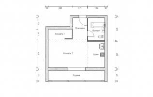 Серия II-68. Перепланировка. Однокомнатная квартира (вар. 2)