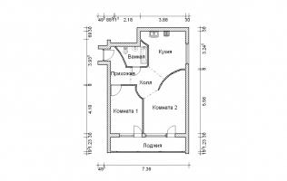 Серия II-68. Перепланировка (1). Двухкомнатная квартира (вар. 1)