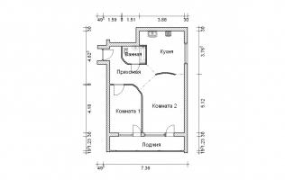 Серия II-68. Перепланировка (2). Двухкомнатная квартира (вар. 1)