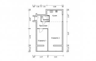 Серия II-68. Перепланировка (3). Двухкомнатная квартира (вар. 1)