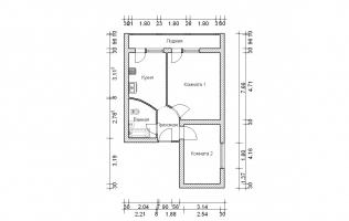 Серия II-68. Перепланировка. Двухкомнатная квартира (вар. 2)