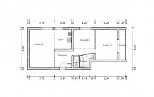 Серия II-68. Перепланировка (1). Трёхкомнатная квартира