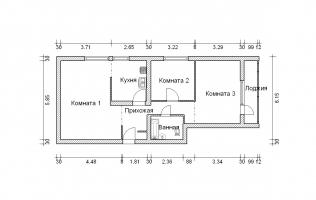 Серия II-68. Перепланировка (2). Трёхкомнатная квартира
