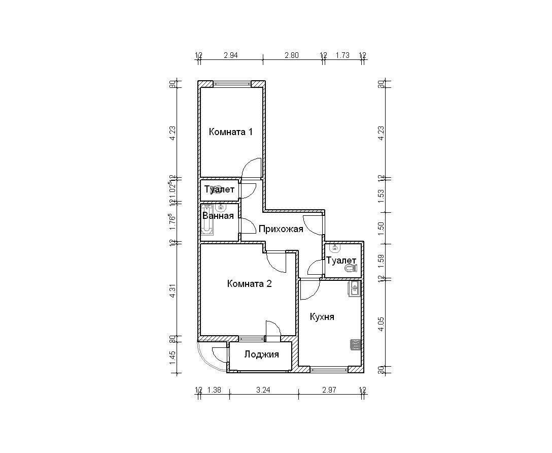 Дизайн трехкомнатной квартиры п 3.