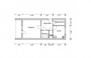 Серия П-111М. План. Однокомнатная квартира (вар. 1)