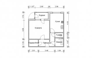 Серия П-111М. План. Однокомнатная квартира (вар. 3)