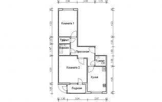 Серия П-111М. План. Двухкомнатная квартира (вар. 1)