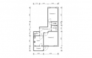 Серия П-111М. План. Двухкомнатная квартира (вар. 2)