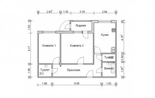 Серия П-111М. План. Двухкомнатная квартира (вар. 3)