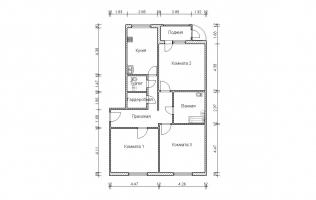 Серия П-111М. План. Трёхкомнатная квартира (вар. 1)