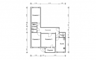 Серия П-111М. План. Трёхкомнатная квартира (вар. 2)