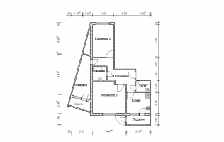 Серия П-111М. План. Трёхкомнатная квартира (вар. 3)