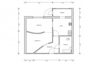 Серия П-111М. Перепланировка. Однокомнатная квартира (вар. 2)