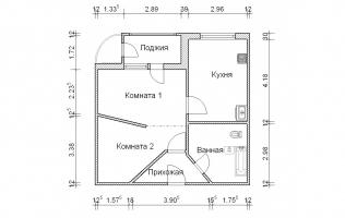 Серия П-111М. Перепланировка. Однокомнатная квартира (вар. 3)