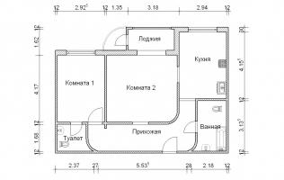 Серия П-111М. Перепланировка. Двухкомнатная квартира (вар. 3)