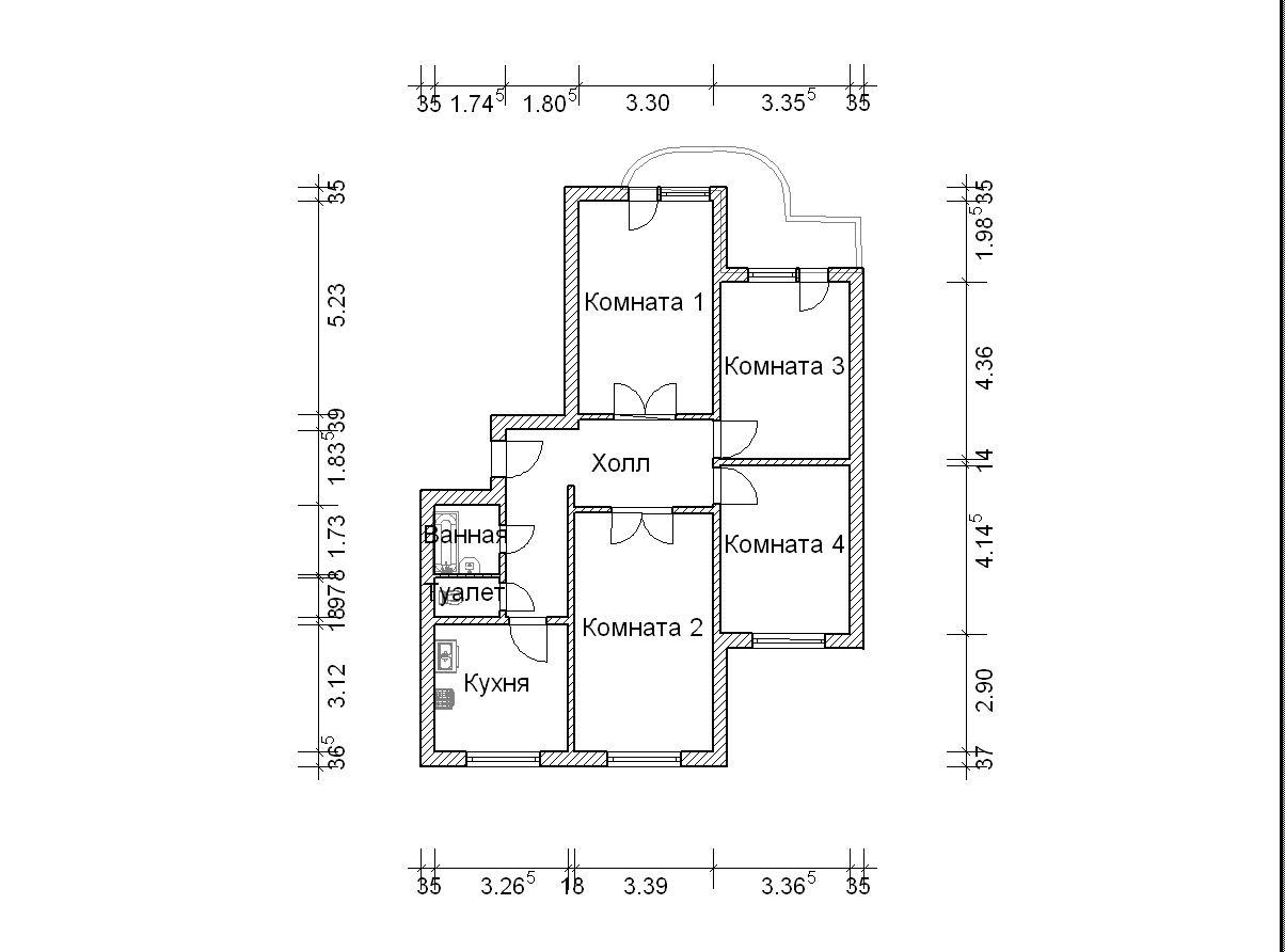3-й план четырехкомнатной квартиры п-3м - Четырехкомнатные к.