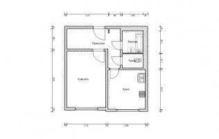 Серия П-3М. План. Однокомнатная квартира