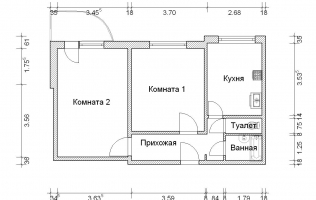 Серия П-3М. План. Двухкомнатная квартира (вар. 1)