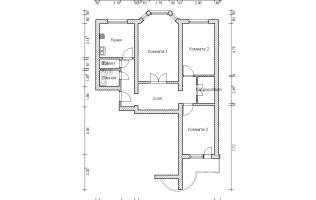 Серия П-3М. План. Трёхкомнатная квартира (вар. 1)