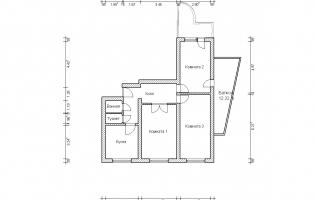 Серия П-3М. План. Трёхкомнатная квартира (вар. 3)