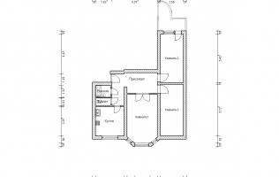 Серия П-3М. План. Трёхкомнатная квартира (вар. 4)