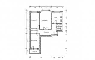 Серия П-3М. План. Трёхкомнатная квартира (вар. 5)