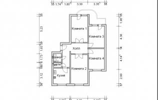 Серия П-3М. План. Четырёхкомнатная квартира (вар. 3)