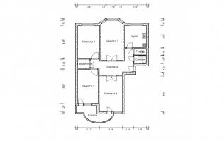 Серия П-3М. План. Четырёхкомнатная квартира (вар. 4)