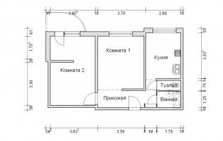 Серия П-3М. Перепланировка (1). Двухкомнатная квартира (вар. 2)