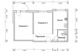 Серия П-3М. Перепланировка (2). Двухкомнатная квартира (вар. 2)