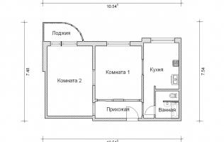Серия П-3М. Перепланировка (3). Двухкомнатная квартира (вар. 2)