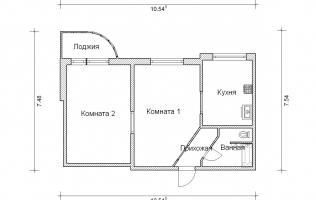 Серия П-3М. Перепланировка (4). Двухкомнатная квартира (вар. 2)