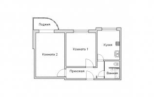 Серия П-3М. Перепланировка (5). Двухкомнатная квартира (вар. 2)